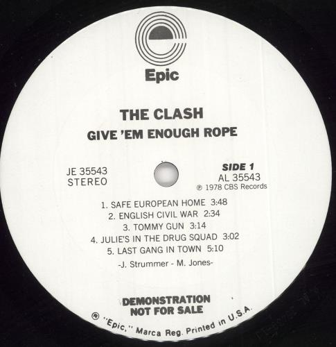 The Clash Give 'em Enough Rope - Withdrawn Sleeve vinyl LP album (LP record) US CSHLPGI141810