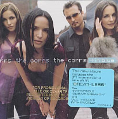 The Corrs In Blue - gold promo stamped p/s CD album (CDLP) US ORRCDIN190906