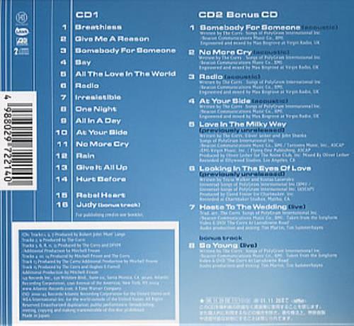 The Corrs In Blue 2 CD album set (Double CD) Japanese ORR2CIN166279
