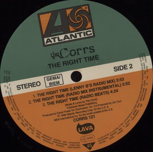 """The Corrs The Right Time 12"""" vinyl single (12 inch record / Maxi-single) German ORR12TH145846"""