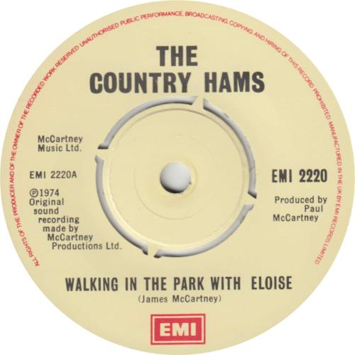 """The Country Hams Walking In The Park With Eloise - 2nd 7"""" vinyl single (7 inch record) UK C-H07WA92904"""