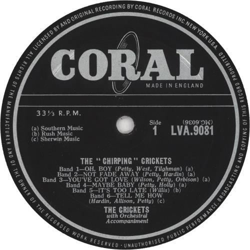 The Crickets The Chirping Crickets vinyl LP album (LP record) UK CKTLPTH739498
