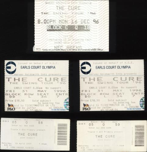 The Cure Quantity of Five Concert Tickets concert ticket UK CURTIQU696972
