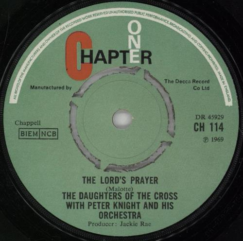 """The Daughters Of The Cross The Lord's Prayer 7"""" vinyl single (7 inch record) UK 13607TH753242"""