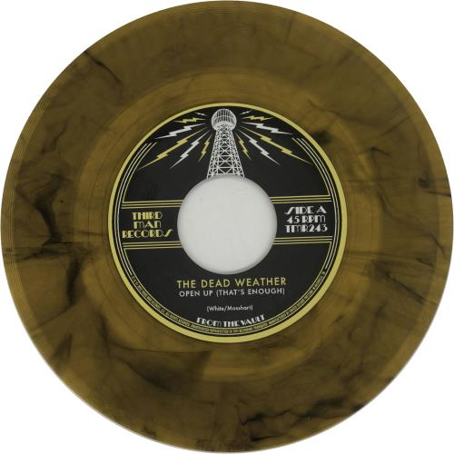 """The Dead Weather Open Up (That's Enough) - Translucent Yellow & Black Marble Vinyl 7"""" vinyl single (7 inch record) US WEV07OP660362"""