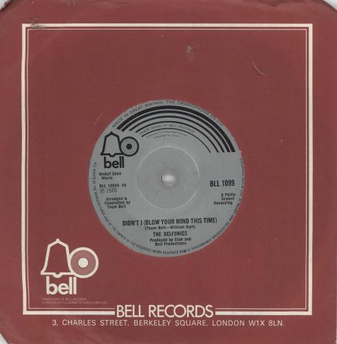 """The Delfonics Didn't I (Blow Your Mind This Time) 7"""" vinyl single (7 inch record) UK ICZ07DI720020"""