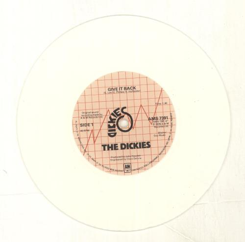 "The Dickies Give It Back - White Vinyl 7"" vinyl single (7 inch record) UK DIC07GI115034"