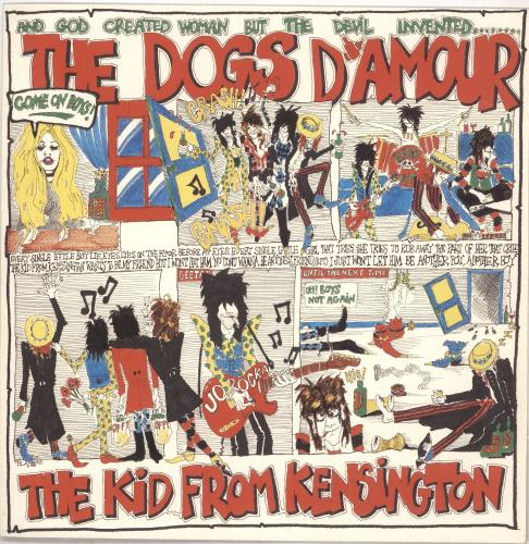 "The Dogs D'Amour The Kid From Kensington - Yellow Vinyl - Signed 12"" vinyl single (12 inch record / Maxi-single) UK DOG12TH741327"
