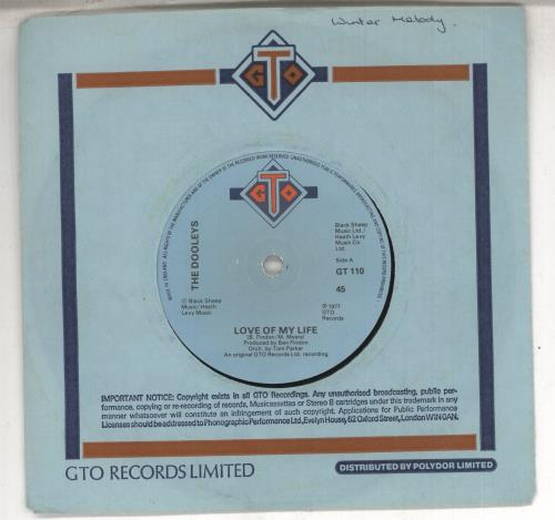 "The Dooleys Love Of My Life 7"" vinyl single (7 inch record) UK D/Y07LO574447"
