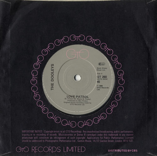 """The Dooleys Love Patrol 7"""" vinyl single (7 inch record) UK D/Y07LO566369"""
