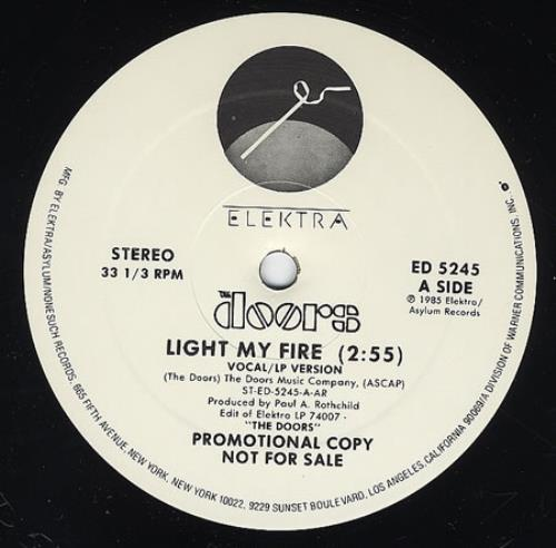 The Doors Light My Fire 12  vinyl single (12 inch record / Maxi- & The Doors Light My Fire US Promo 12