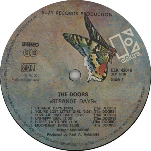 The Doors Strange Days - Butterfly Label vinyl LP album (LP record) Yugoslavian DORLPST666131