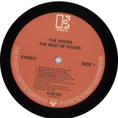 The Doors The Best Of The Doors - 2nd vinyl LP album (LP record) German DORLPTH609419