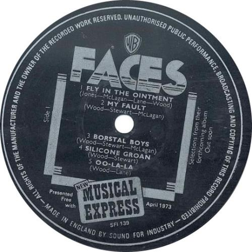 """The Faces Selections From Their Forthcoming Album 7"""" vinyl single (7 inch record) UK FCE07SE70679"""