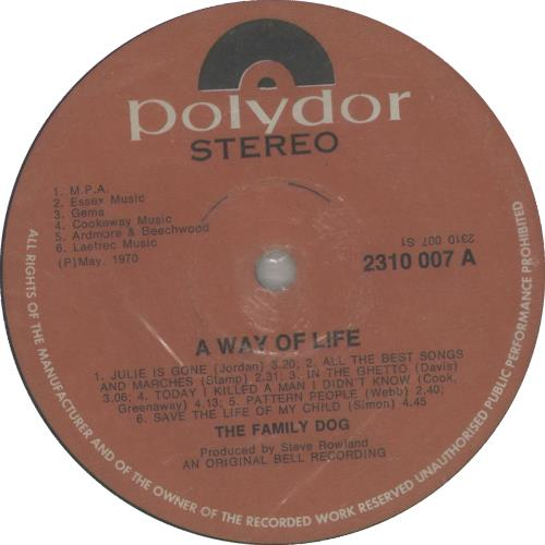The Family Dogg A Way Of Life vinyl LP album (LP record) South African FMDLPAW659009
