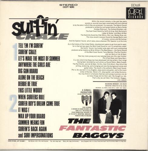 The Fantastic Baggys Surfin' Craze vinyl LP album (LP record) UK YL3LPSU693088