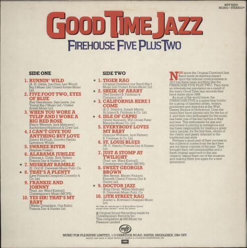 The Firehouse Five Plus Two Good Time Jazz vinyl LP album (LP record) UK F52LPGO541365