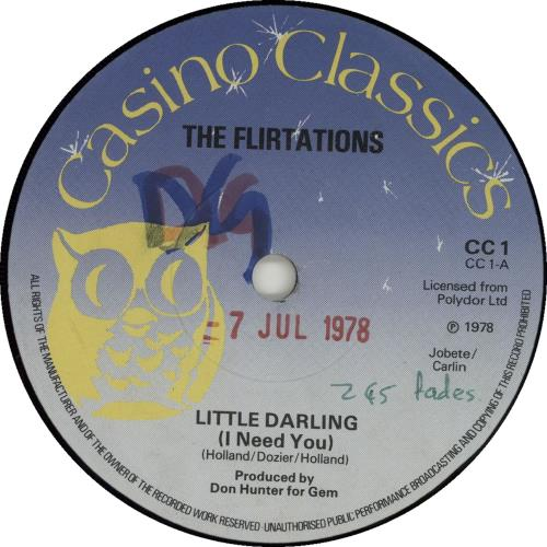 "The Flirtations Little darling (I Need You) 7"" vinyl single (7 inch record) UK 5FL07LI654106"