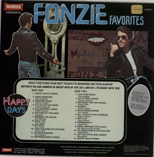 The Fonz Fonzie Favorites Stickered P S Uk Vinyl Lp