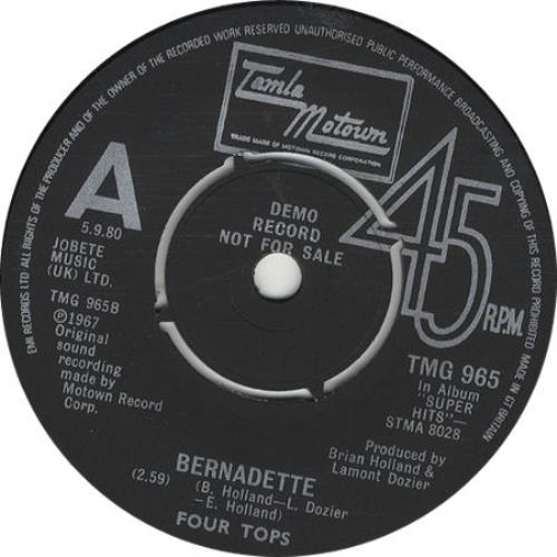 "The Four Tops Bernadette 7"" vinyl single (7 inch record) UK FTP07BE190357"
