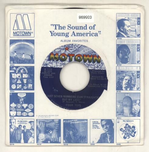 """The Four Tops Just Seven Numbers (Can Straighten Out My Life) 7"""" vinyl single (7 inch record) US FTP07JU459432"""