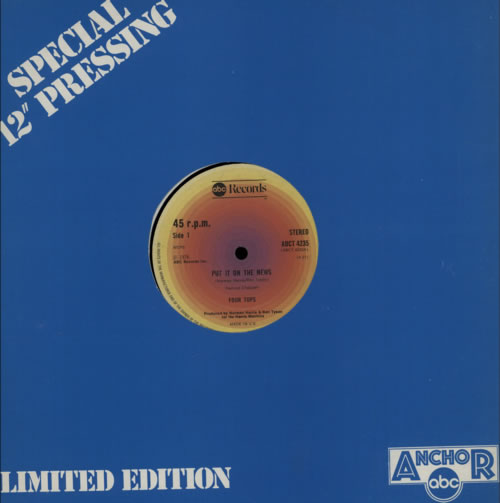 """The Four Tops Put It On The News 12"""" vinyl single (12 inch record / Maxi-single) UK FTP12PU418335"""