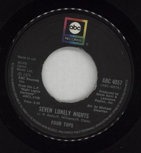 """The Four Tops Seven Lonely Nights 7"""" vinyl single (7 inch record) UK FTP07SE678196"""