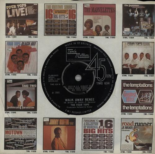 "The Four Tops Walk Away Renee - 4pr 7"" vinyl single (7 inch record) UK FTP07WA349025"