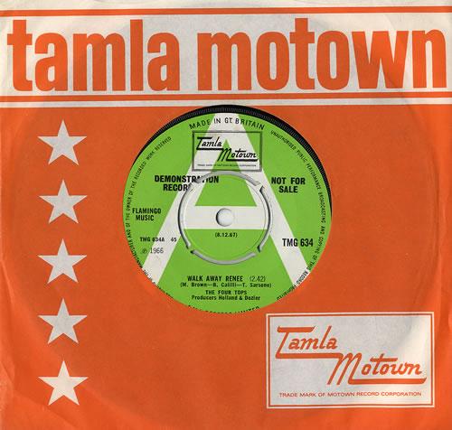 "The Four Tops Walk Away Renee 7"" vinyl single (7 inch record) UK FTP07WA477960"