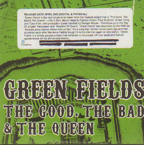 """The Good, The Bad And The Queen Green Fields CD single (CD5 / 5"""") UK TUQC5GR638364"""