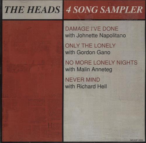 """The Heads 4 Song Sampler CD single (CD5 / 5"""") US T-HC5SO84209"""