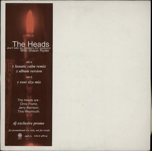 "The Heads Don't Take My Kindness - Roni Size 12"" vinyl single (12 inch record / Maxi-single) UK T-H12DO81401"