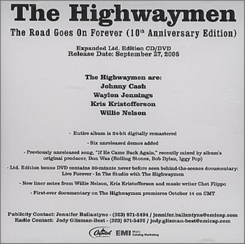 The Highwaymen (Country) The Road Goes On Forever - 10th Anniversary Edition CD-R acetate US HIACRTH363532