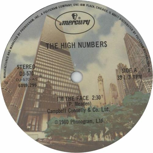 """The High Numbers I'm The Face 7"""" vinyl single (7 inch record) US HGH07IM456777"""