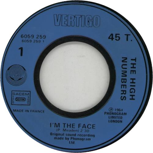 """The High Numbers I'm The Face 7"""" vinyl single (7 inch record) French HGH07IM663021"""