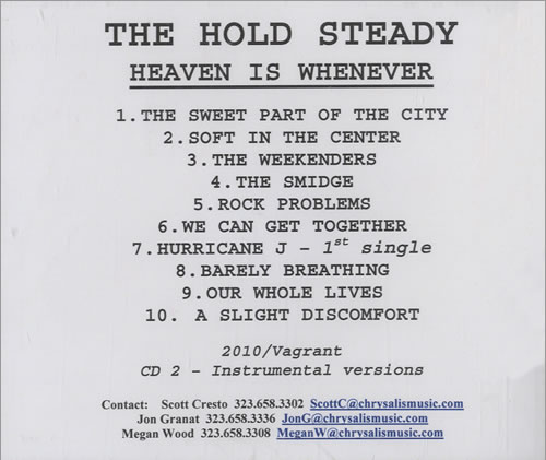 The Hold Steady Heaven Is Whenever + Instrumentals CD-R acetate US UUICRHE514596