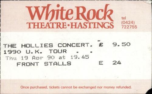 The Hollies 1990 Tour Programme + Ticket Stub & flyer tour programme UK HLLTRTO689405