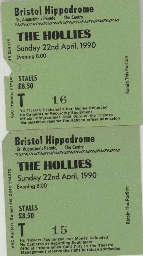 The Hollies 1990 Tour Programme + Ticket Stubs tour programme UK HLLTRTO586932