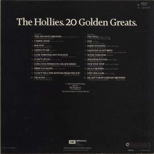 The Hollies 20 Golden Greats - 2nd vinyl LP album (LP record) UK HLLLPGO327397