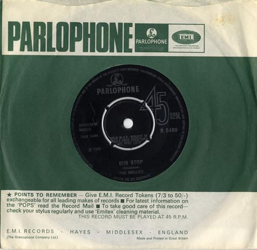 "The Hollies Bus Stop 7"" vinyl single (7 inch record) UK HLL07BU77927"