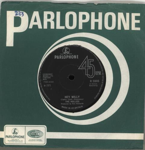 """The Hollies Hey Willy 7"""" vinyl single (7 inch record) UK HLL07HE272769"""