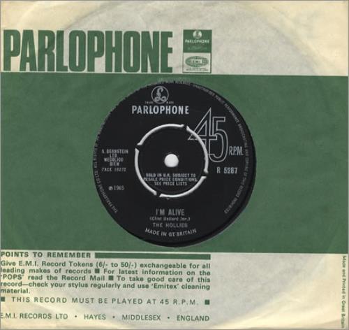 "The Hollies I'm Alive 7"" vinyl single (7 inch record) UK HLL07IM296964"