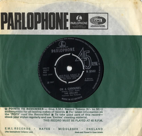 """The Hollies On A Carousel - 4pr 7"""" vinyl single (7 inch record) UK HLL07ON89877"""