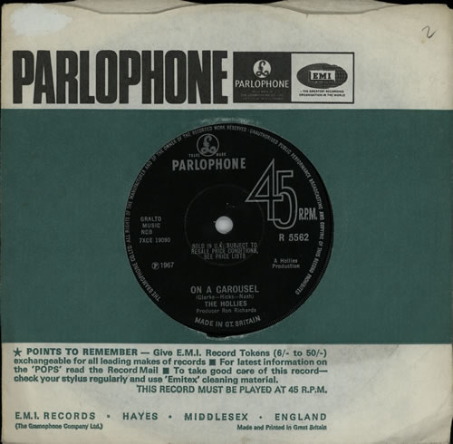 """The Hollies On A Carousel - Solid 7"""" vinyl single (7 inch record) UK HLL07ON572486"""