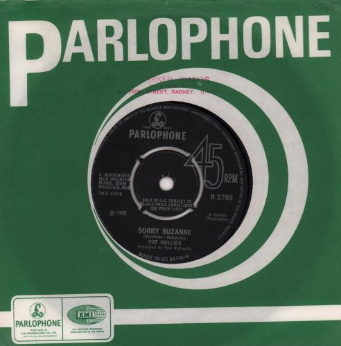 "The Hollies Sorry Suzanne - 4prong 7"" vinyl single (7 inch record) UK HLL07SO668718"