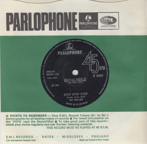 """The Hollies Stop Stop Stop - Solid 7"""" vinyl single (7 inch record) UK HLL07ST648263"""
