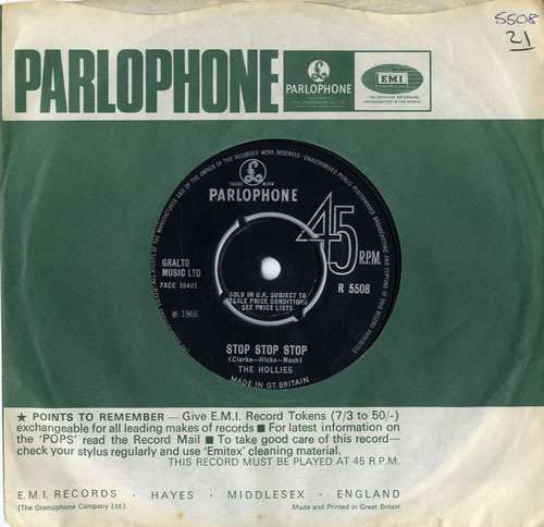"""The Hollies Stop Stop Stop 7"""" vinyl single (7 inch record) UK HLL07ST77926"""