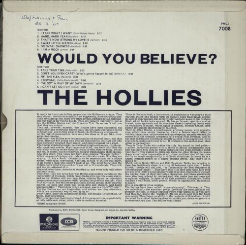 The Hollies Would You Believe? vinyl LP album (LP record) South African HLLLPWO645063