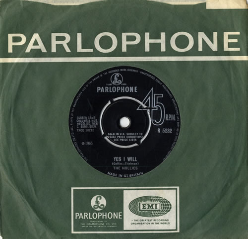 """The Hollies Yes I Will 7"""" vinyl single (7 inch record) UK HLL07YE558020"""