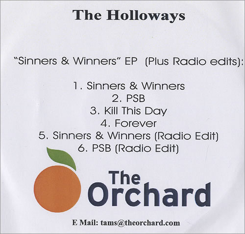 The Holloways Sinners & Winners EP CD-R acetate UK HOYCRSI468568